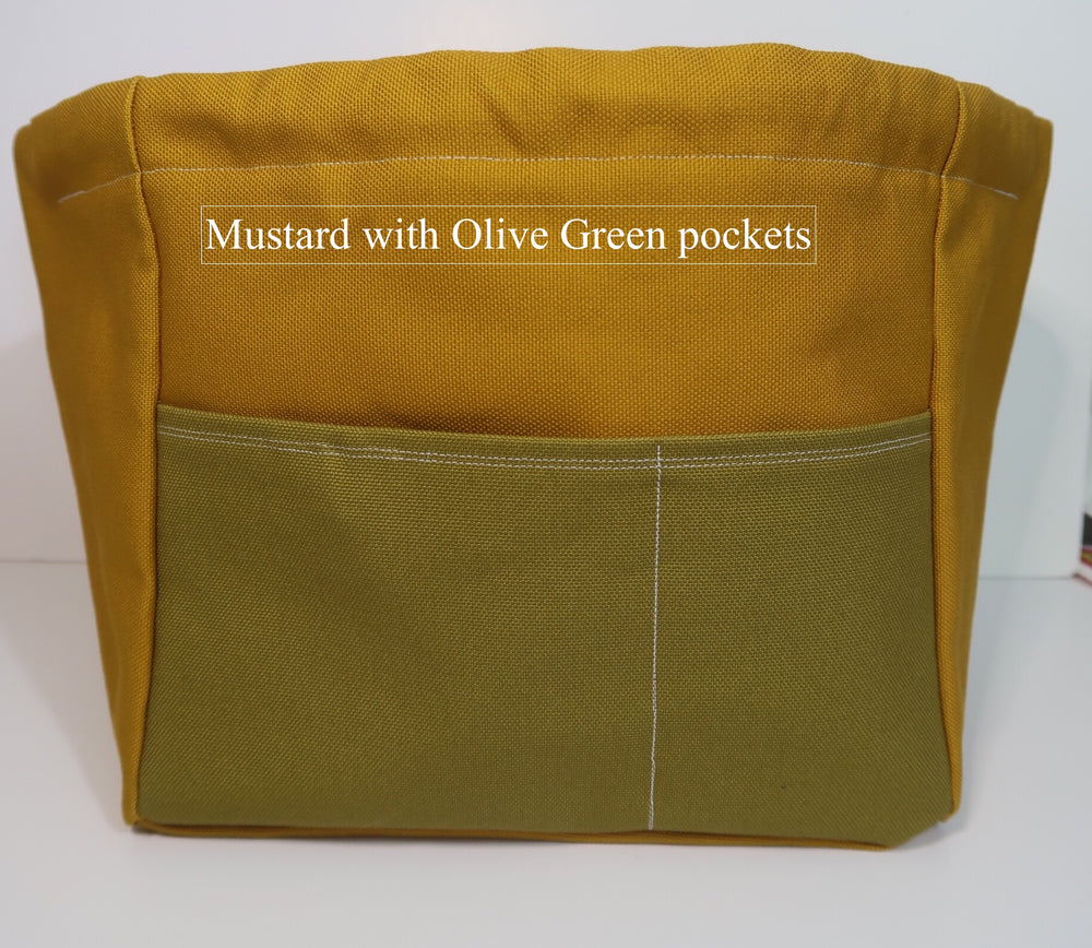 Canvas Cube Knitting Project Bag with Pockets shown in Mustard with Olive Green pockets, large size for sweaters and blankets. Cube shaped drawstring bag