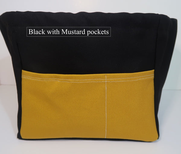 Canvas Cube Knitting Project Bag with Pockets shown in Black with Yellow Pockets, large size for sweaters and blankets. Cube shaped drawstring bag