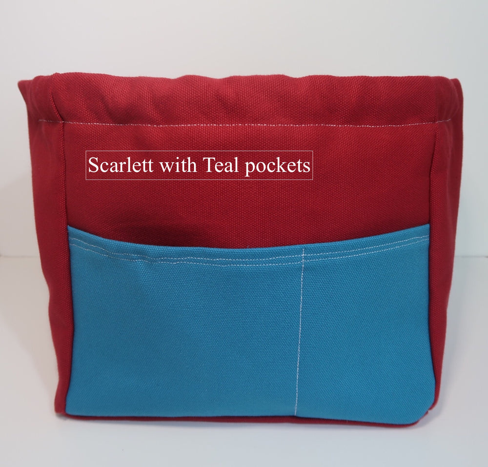 Canvas Cube Knitting Project Bag with Pockets shown in Scarlett with Teal pockets, large size for sweaters and blankets. Cube shaped drawstring bag