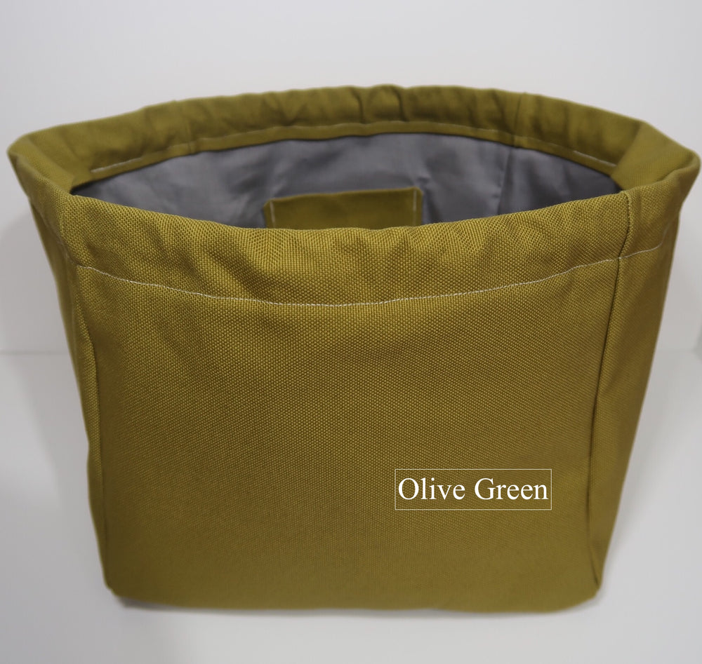 Canvas Cube Knitting Project Bag in Olive Green Colour, large size for sweaters and granny blankets. Cube shaped drawstring bag shown front on and standing upright
