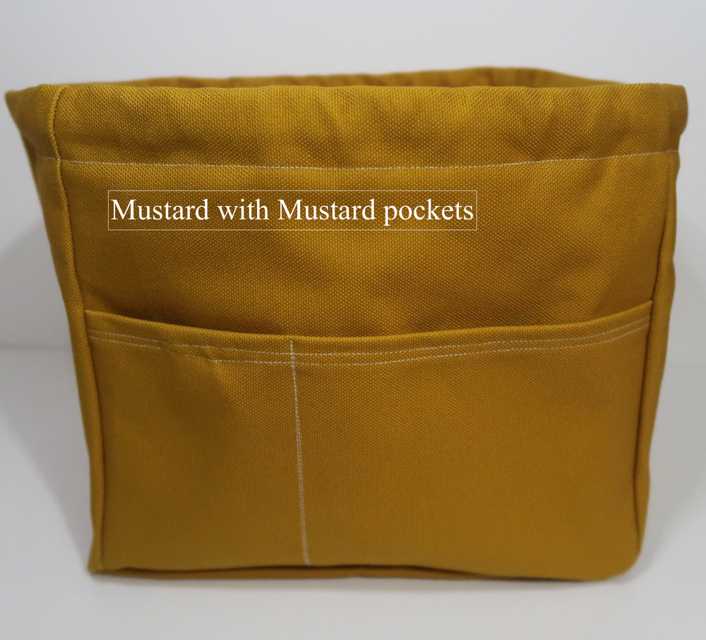 Canvas Cube Knitting Project Bag with Pockets shown in Mustard with Mustard pockets, large size for sweaters and blankets. Cube shaped drawstring bag