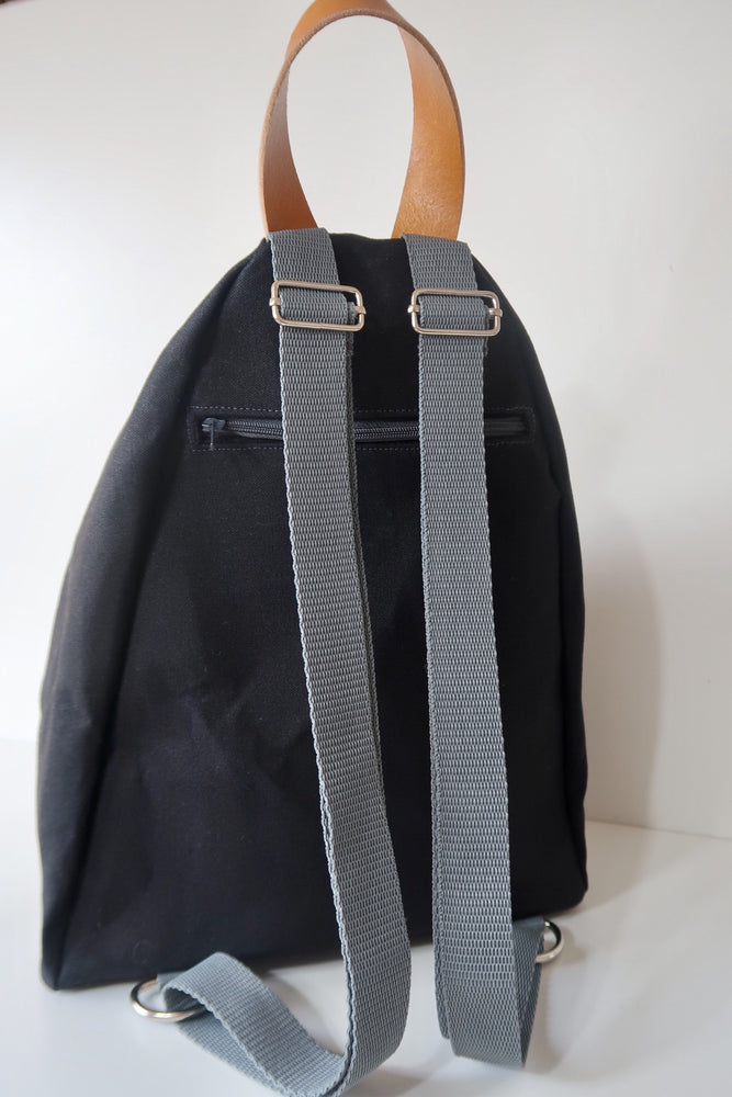 Knitting Project Bag ~ Knitters Carry All Backpack, back view of the bag and shown in Black colour