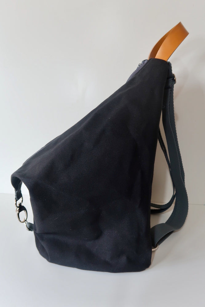 Knitting Project Bag ~ Knitters Carry All Backpack, side view of the bag and shown in Black colour