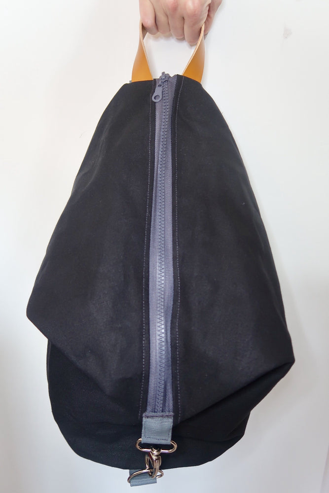 Knitting Project Bag ~ Knitters Carry All Backpack, front view of the bag and shown in Black colour