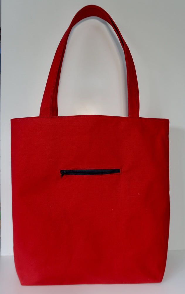 Knitting Tote Bag, Knitting Project Bag ~ Knitters Carry All Tote shown in Tomato Canvas colour