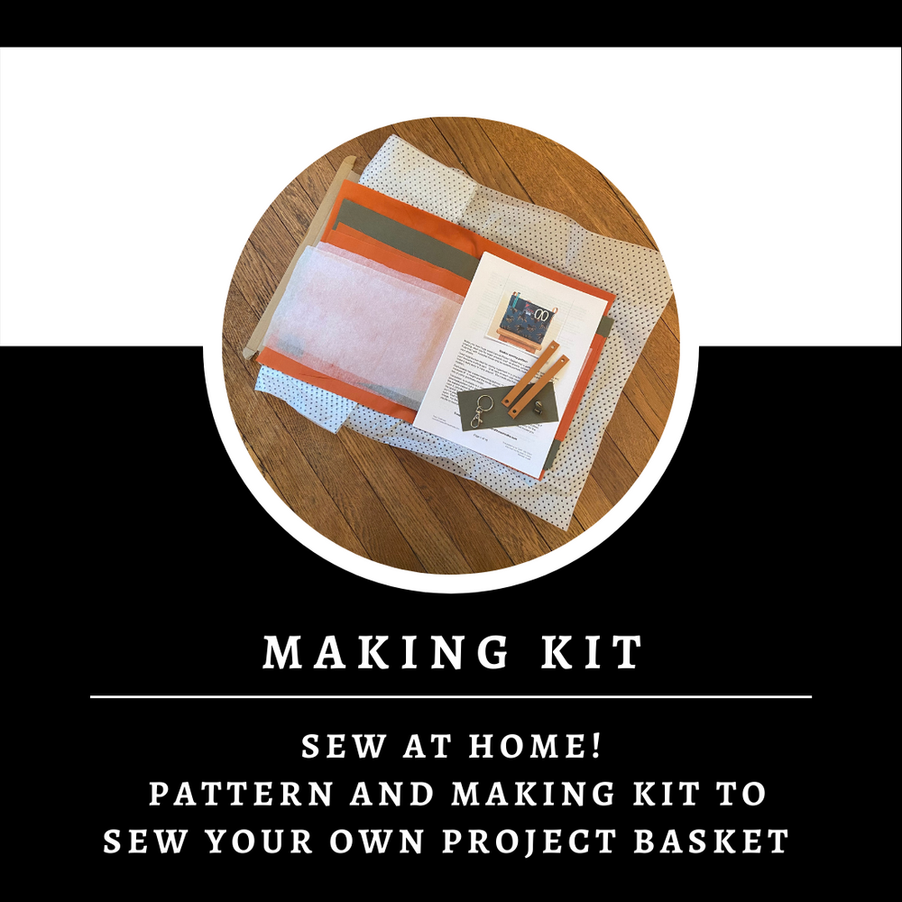 Blue Canvas Basket Making Kit ~ Sewing pattern and Making Kit ~ Sew your own project bag/basket