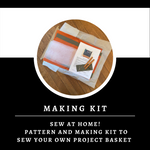 Wine Canvas Basket Making Kit ~ Sewing pattern and Making Kit ~ Sew your own project bag/basket