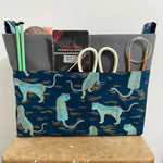 Wool print Canvas Basket Making Kit ~ Sewing pattern and Making Kit with Printed Pocket Fabric ~ Sew your own project bag/basket