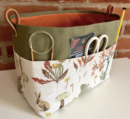 Silk print Canvas Basket Making Kit ~ Sewing pattern and Making Kit with Printed Pocket Fabric ~ Sew your own project bag/basket