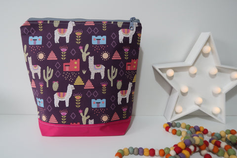 Knitting Project Bag ~ Alpacas ~ Large Size