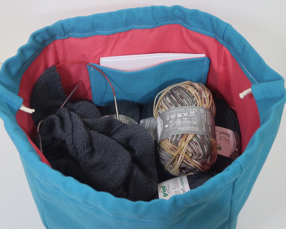 Canvas Cube Knitting Project Bag, large size for sweaters and granny blankets. Cube shaped drawstring bag, Teal coloured with pink lining