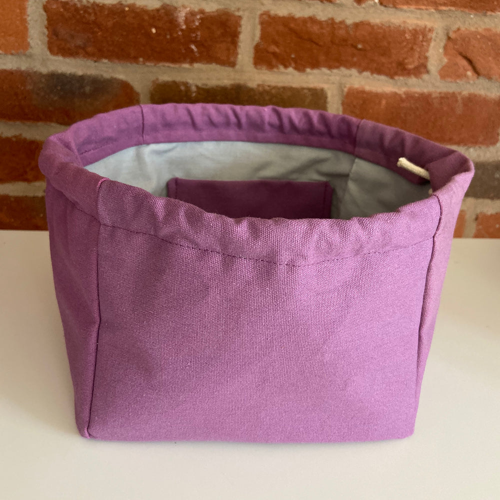 Canvas CUBE Project Bag ~ LARGE yarn storage bag for knitting and crochet projects