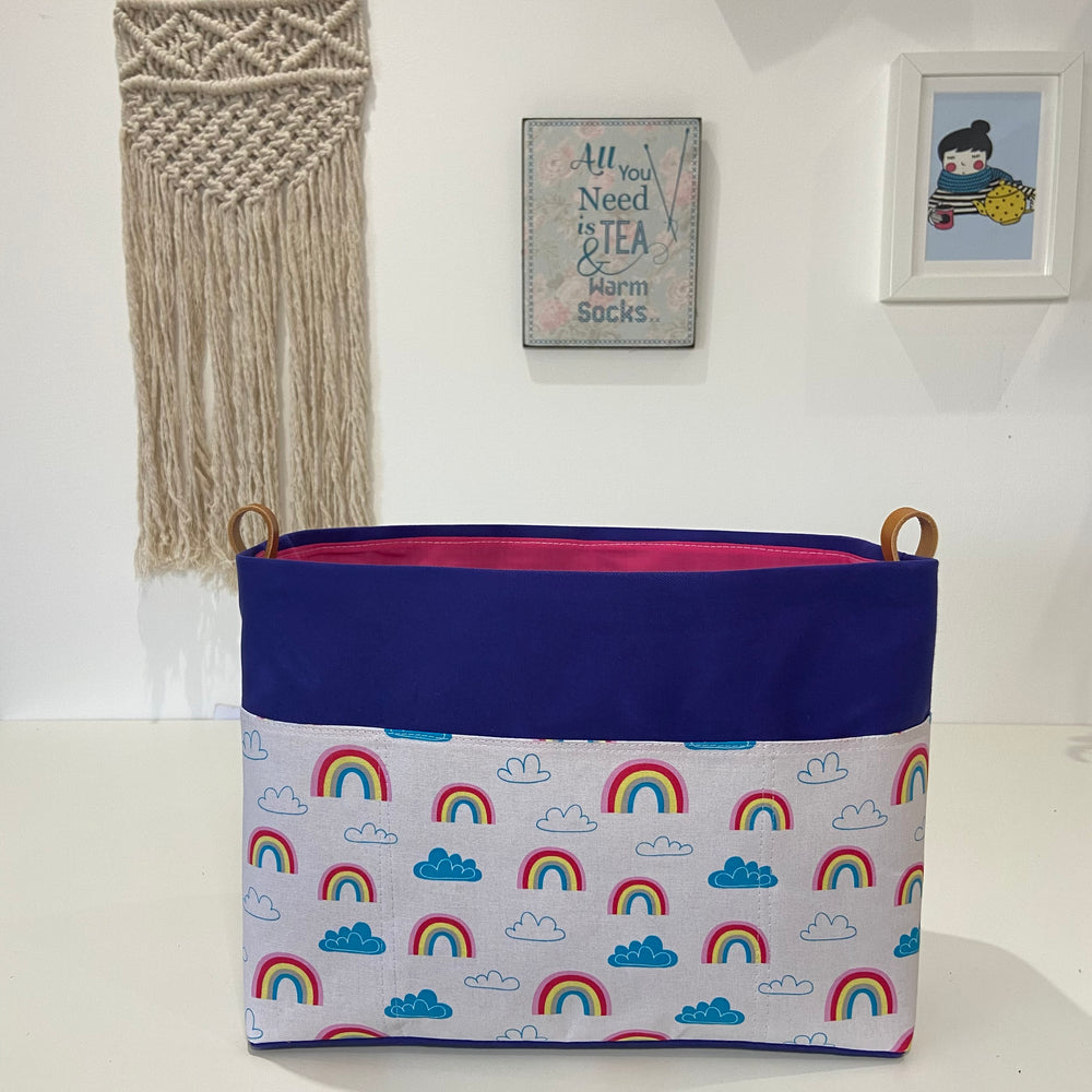Pre-order - Basket ~ Rainbows  ~ Knitting and Crochet storage basket