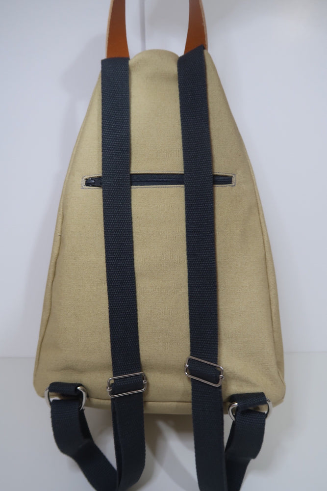 Knitting Project Bag ~ Knitters Carry All Backpack, back view of the bag and shown in Biscuit