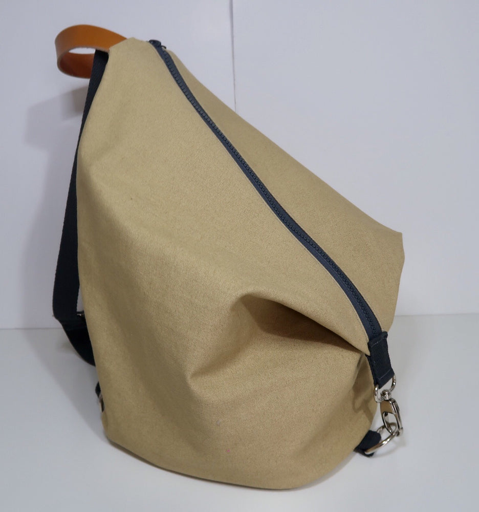 Knitting Project Bag ~ Knitters Carry All Backpack, side view of the bag and shown in Biscuit