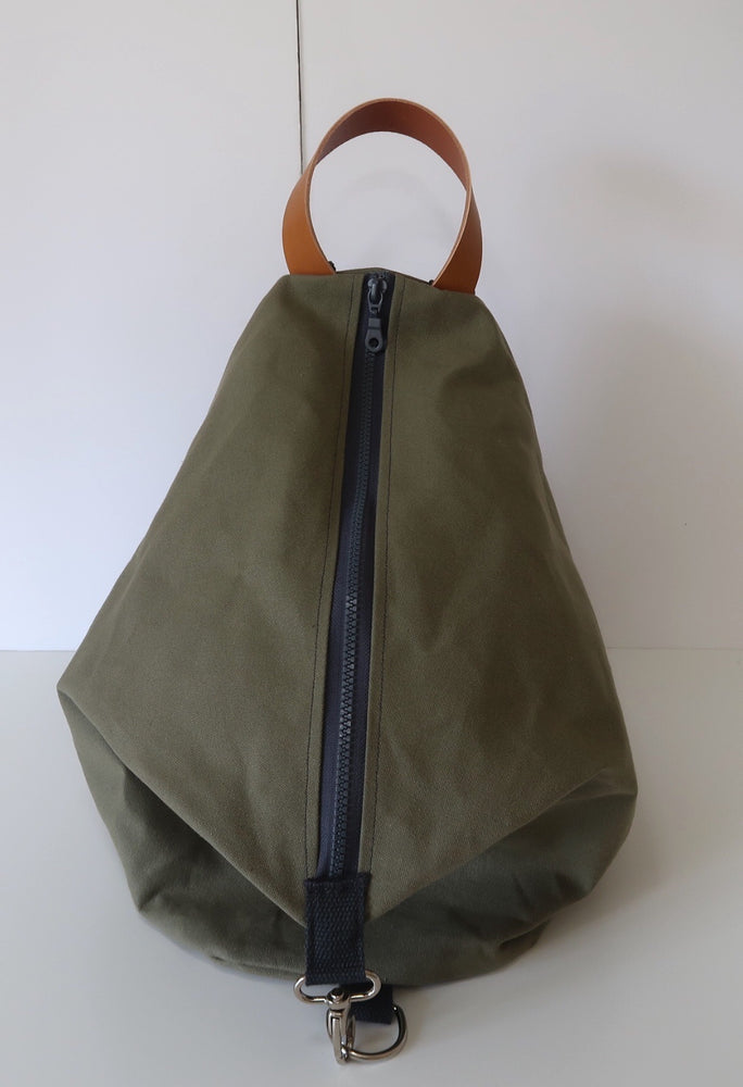 Knitting Project Bag ~ Knitters Carry All Backpack, front view of the bag and shown in Olive Green colour