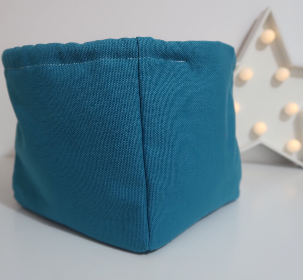 Knitting Project Bag small Canvas Cube Bag in Teal colour side view to show cube shape