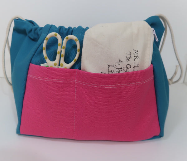 Canvas Cube Knitting Project Bag, large size for sweaters and granny blankets. Cube shaped drawstring bag with outside pocket, Teal coloured with pink lining