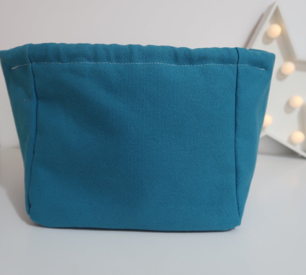 Knitting Project Bag small Canvas Cube Bag in Teal colour