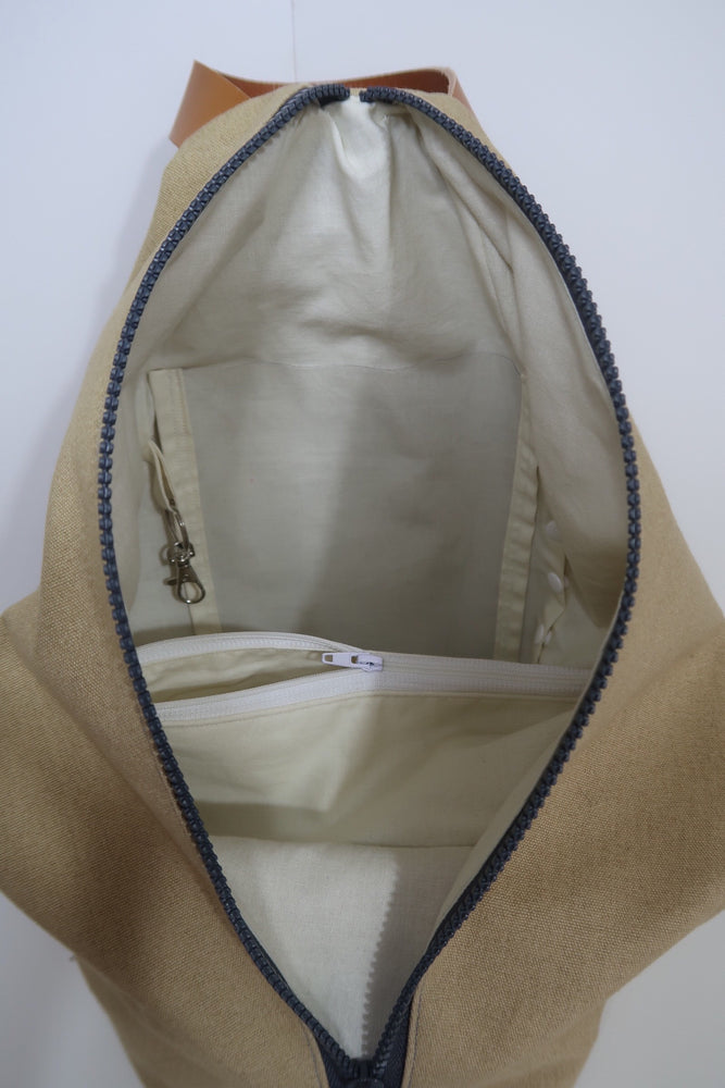 Knitting Project Bag ~ Knitters Carry All Backpack, inside view of the bag with zip open and shown in Biscuit