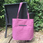 Knitting Tote Bag, Knitting Project Bag ~ Knitters Carry All Tote shown in Purple Canvas colour hanging from a chair