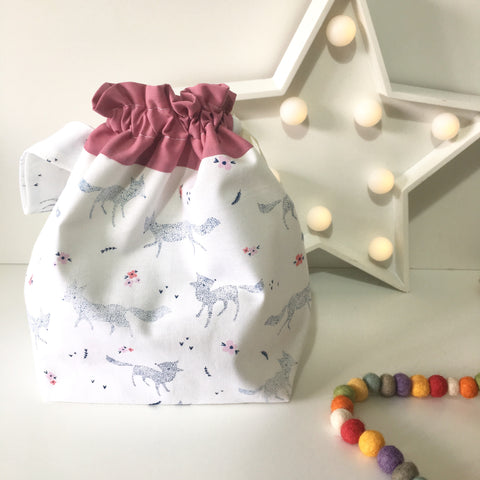 Knitting Project Bag ~ Foxes ~ Drawstring