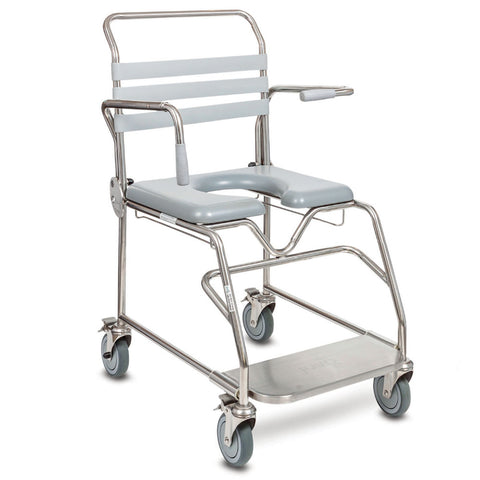 Juvo Bariatric Attendent Sliding Footplate Mobile Shower Commode