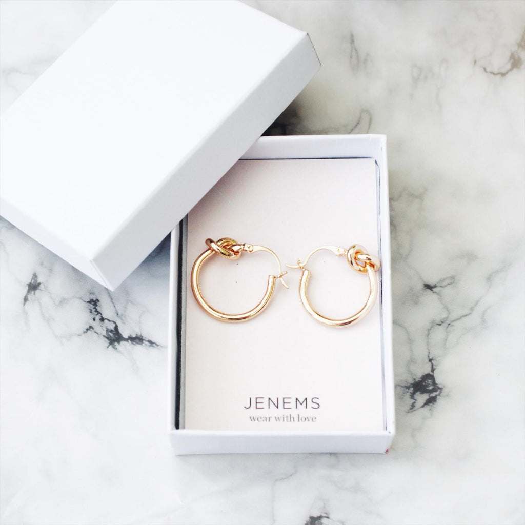 Gold Hoop Knot Earrings - Jenems