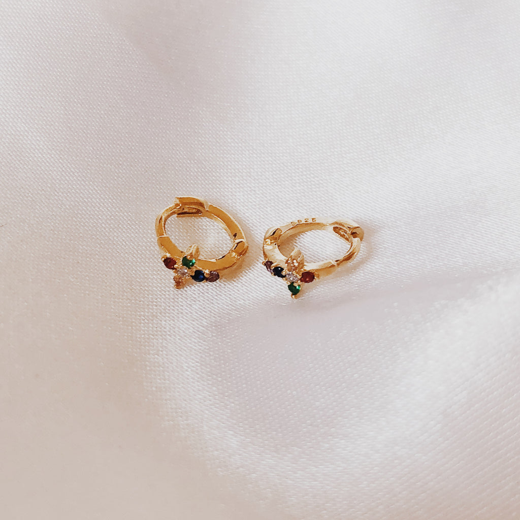 Cross Rainbow Gold Hoop Huggie Earrings