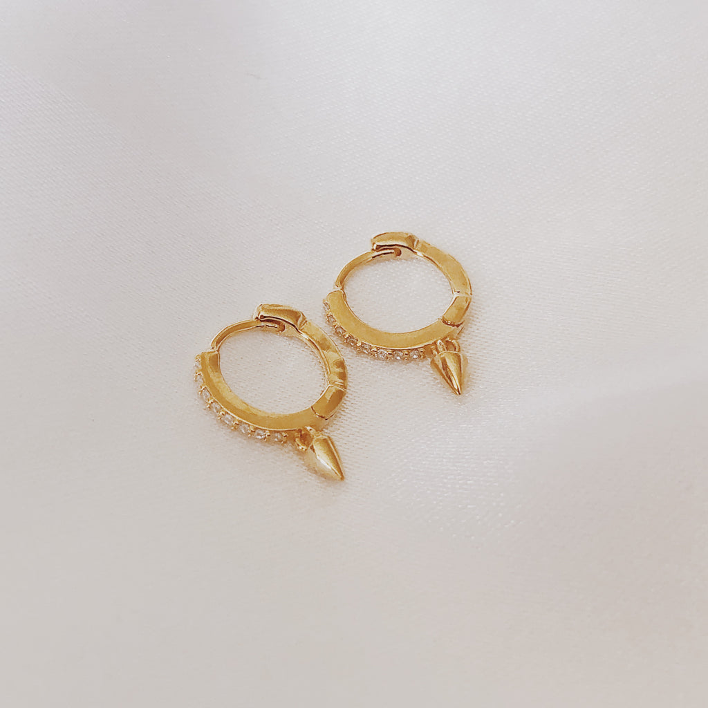 Clear Crystal Spike Drop Gold Hoop Huggie Earrings