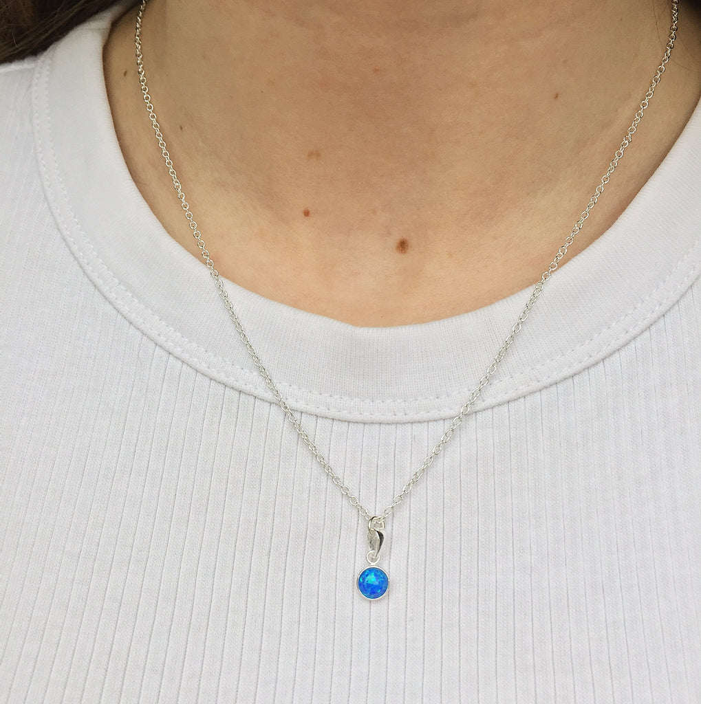 round pacific blue opal sterling silver necklace - Jenems