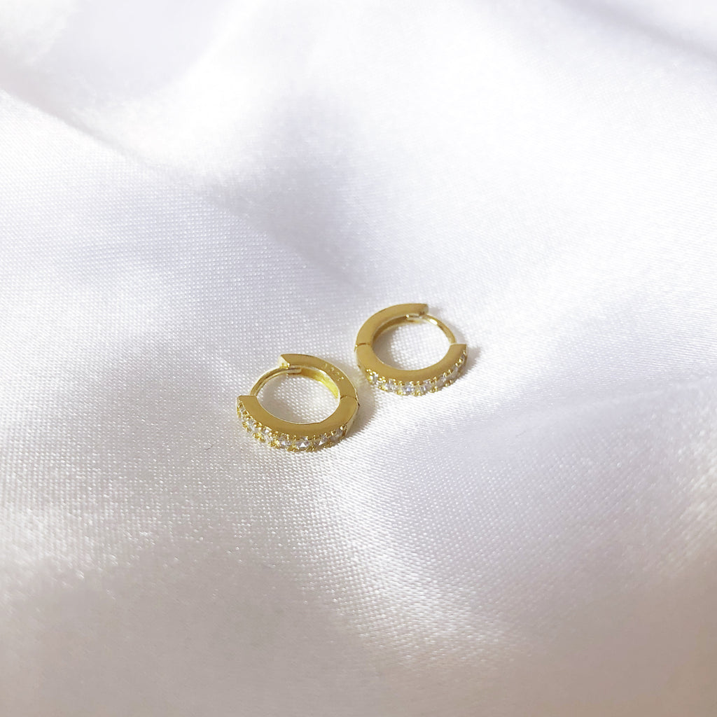 Clear Crystal Gold Hoop Huggie Earrings