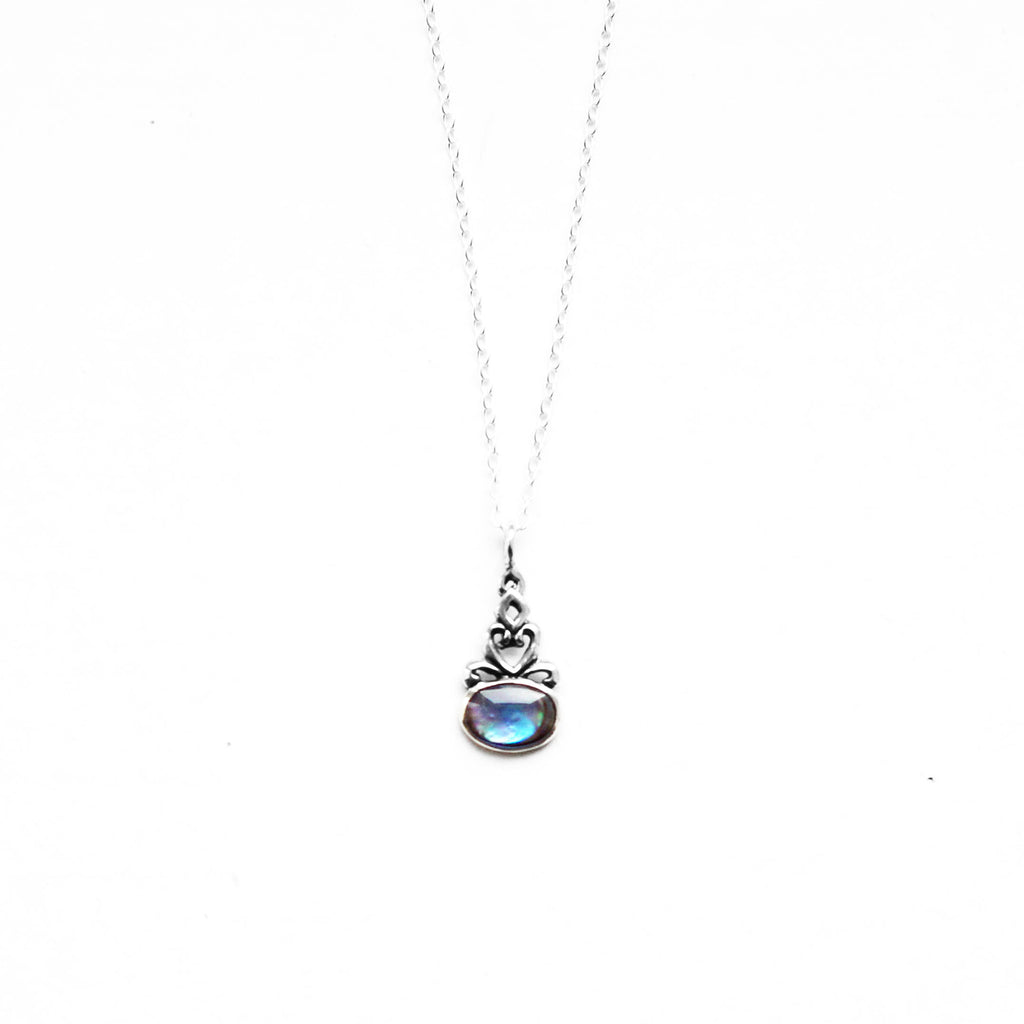 abalone dark blue circle sterling silver necklace - Jenems