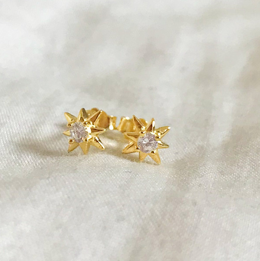 sterling silver star gold plated crystal stud earrings - Jenems
