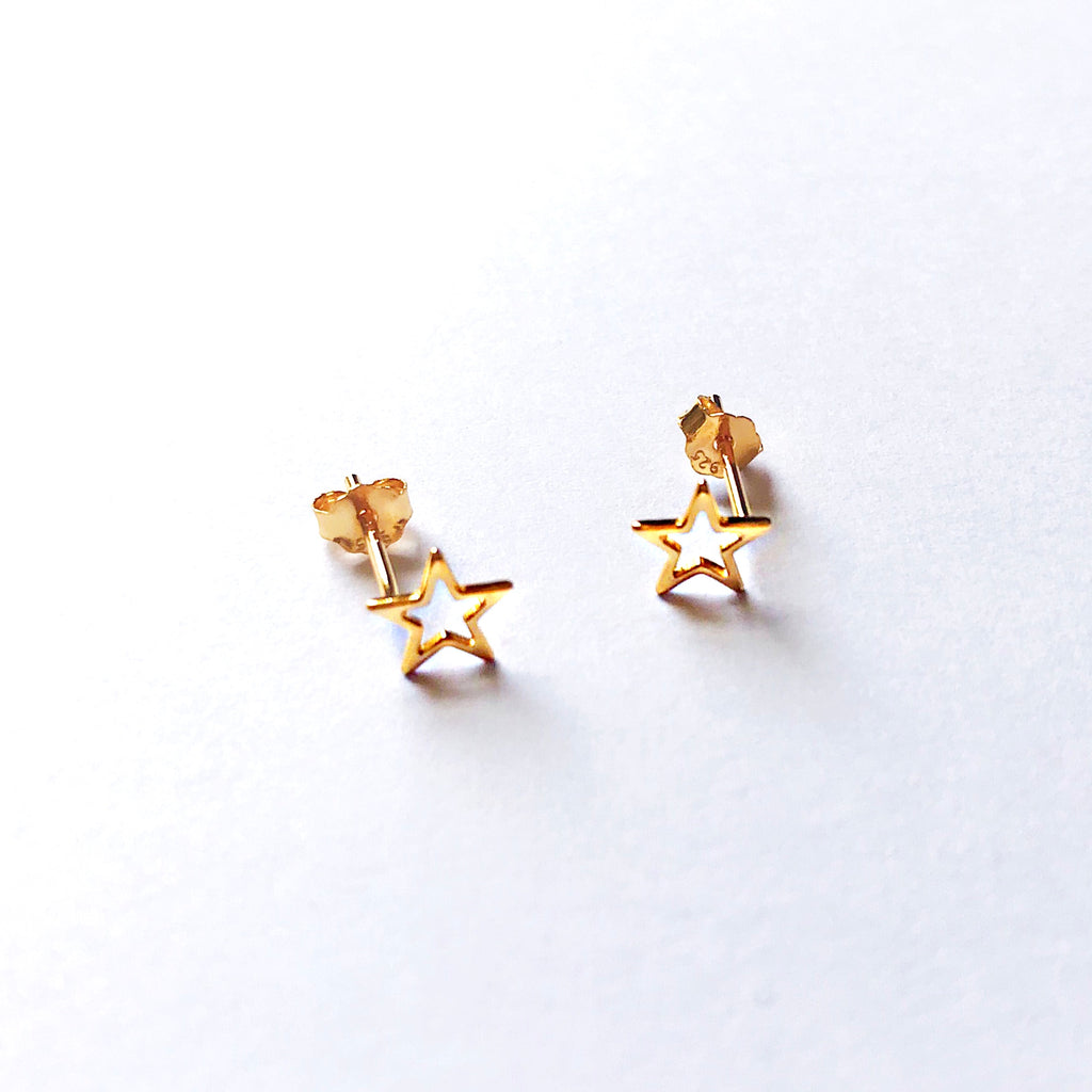 sterling silver star gold plated stud earrings - Jenems