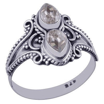 sterling silver white cubic crystal ring - Jenems