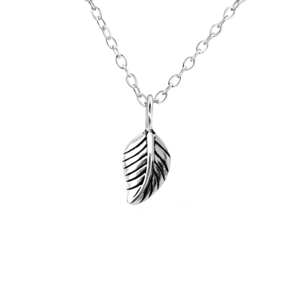 silver autumn leaf necklace - Jenems