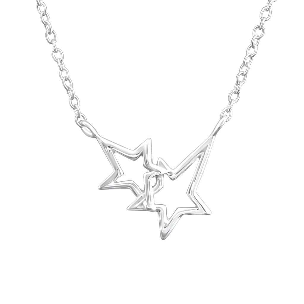 sterling silver double star necklace - Jenems