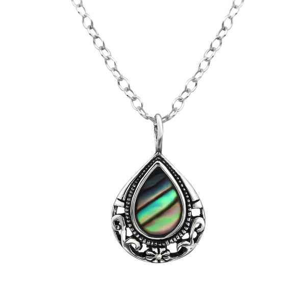 sterling silver abalone shell teardrop necklace