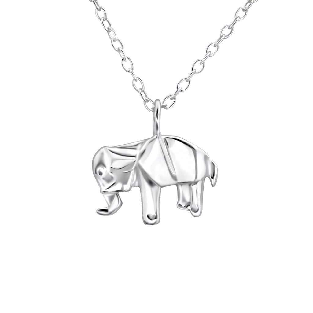 sterling silver origami elephant necklace - Jenems