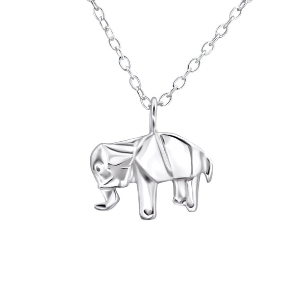 sterling silver origami elephant necklace