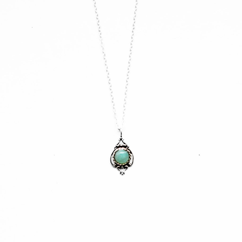 sterling silver amazonite necklace - Jenems