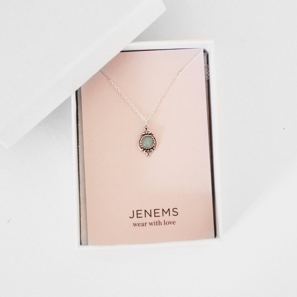 amazonite gemstone ornate round sterling silver necklace - Jenems