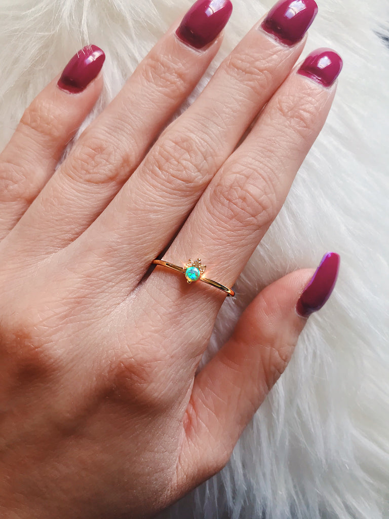 gold plated fire opal ring - Jenems
