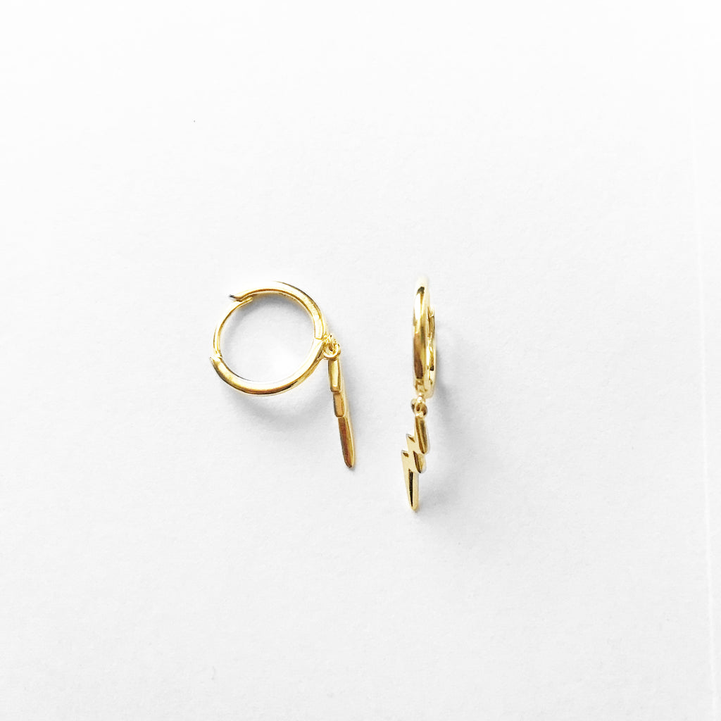 sterling silver gold plated lightening bolt hoop earrings - Jenems