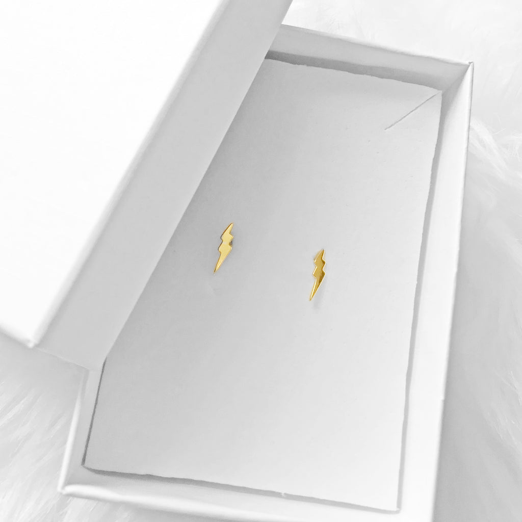 sterling silver gold plated lightening stud earrings - Jenems