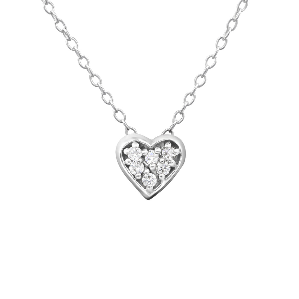 crystal heart sterling silver necklace - Jenems