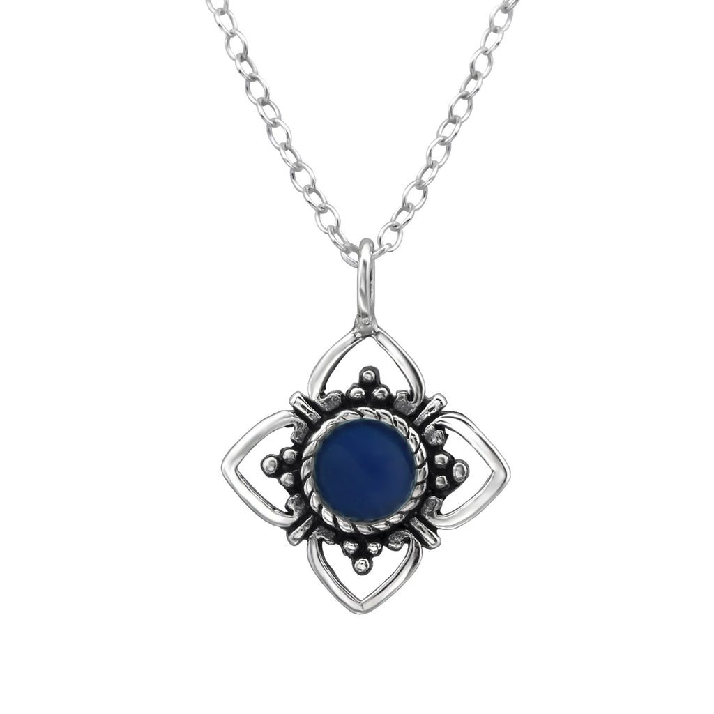 sterling silver dark blue crystal flower necklace - Jenems