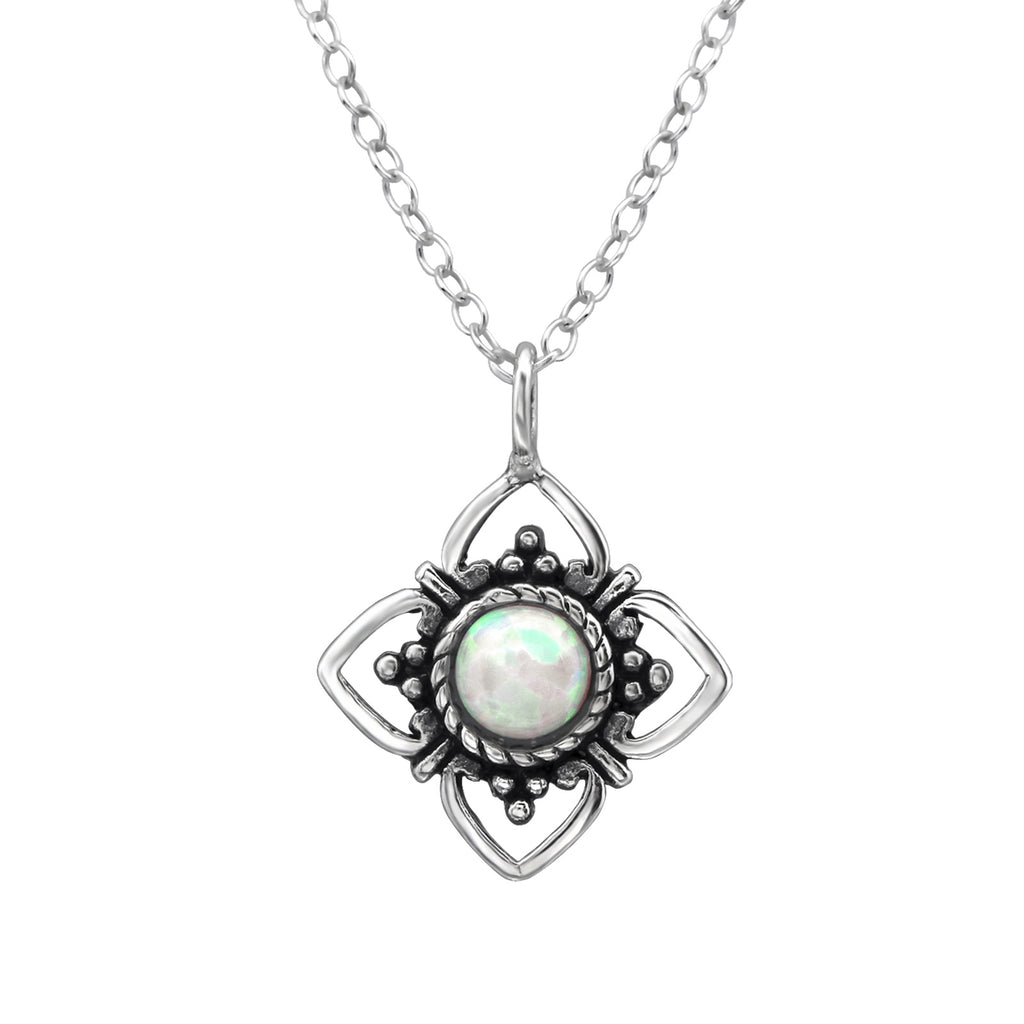 sterling silver fire stone crystal flower necklace - Jenems