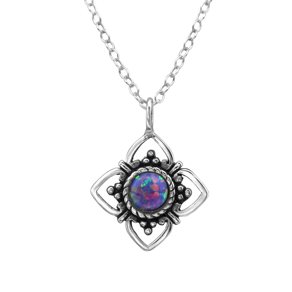 sterling silver multi lavender crystal flower necklace - Jenems